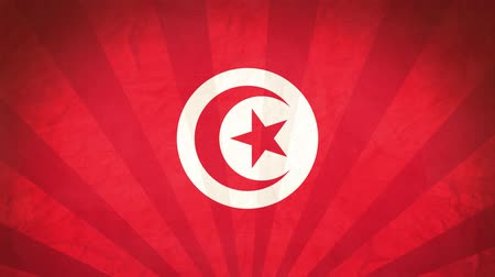 Flag Of Tunisia. Paper Texture, With Seamlessly Spinning Printed Like Sunrays. High-Quality, Detailed Animation. 4K, 60fps