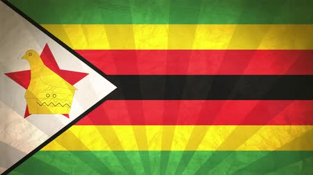 zimbabwe : Flag Of Zimbabwe. Paper Texture, With Seamlessly Spinning Printed Like Sunrays. High-Quality, Detailed Animation. 4K, 60fps