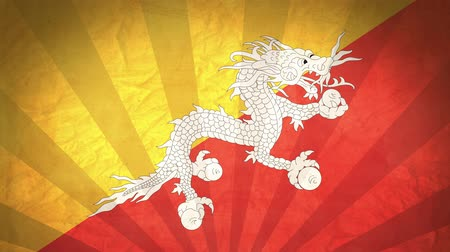 bhutan : Flag Of Bhutan. Paper Texture, With Seamlessly Spinning Printed Like Sunrays. High-Quality, Detailed Animation. 4K, 60fps