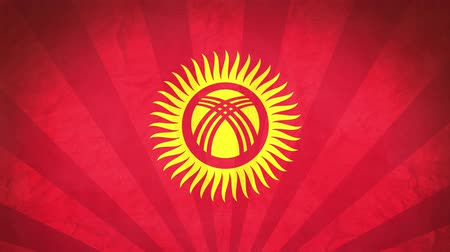 národnost : Flag Of Kyrgyzstan. Paper Texture, With Seamlessly Spinning Printed Like Sunrays. High-Quality, Detailed Animation. 4K, 60fps Dostupné videozáznamy