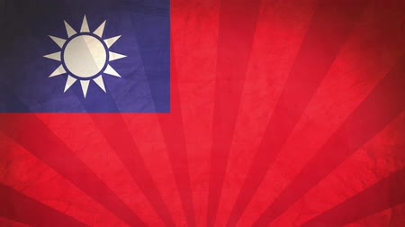 nationality : Flag Of Taiwan. Paper Texture, With Seamlessly Spinning Printed Like Sunrays. High-Quality, Detailed Animation. 4K, 60fps Stock Footage