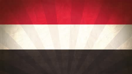 yemen : Flag Of Yemen. Paper Texture, With Seamlessly Spinning Printed Like Sunrays. High-Quality, Detailed Animation. 4K, 60fps