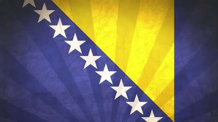 národnost : Flag Of Bosnia And Herzegovina. Paper Texture, With Seamlessly Spinning Printed Like Sunrays. High-Quality, Detailed Animation. 4K, 60fps