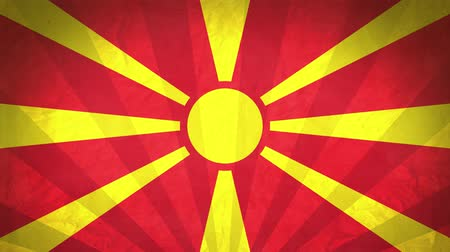 macedonia : Flag Of Macedonia. Paper Texture, With Seamlessly Spinning Printed Like Sunrays. High-Quality, Detailed Animation. 4K, 60fps