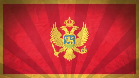 národnost : Flag Of Montenegro. Paper Texture, With Seamlessly Spinning Printed Like Sunrays. High-Quality, Detailed Animation. 4K, 60fps