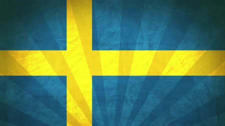 Flag Of Sweden. Paper Texture, With Seamlessly Spinning Printed Like Sunrays. High-Quality, Detailed Animation. 4K, 60fps Vidéos Libres De Droits