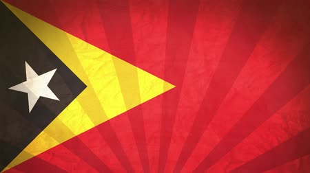east timor : Flag Of East Timor. Paper Texture, With Seamlessly Spinning Printed Like Sunrays. High-Quality, Detailed Animation. 4K, 60fps Stock Footage