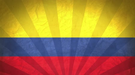 colômbia : Flag Of Colombia. Paper Texture, With Seamlessly Spinning Printed Like Sunrays. High-Quality, Detailed Animation. 4K, 60fps Vídeos