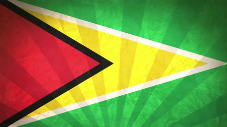 guyana : Flag Of Guyana. Paper Texture, With Seamlessly Spinning Printed Like Sunrays. High-Quality, Detailed Animation. 4K, 60fps