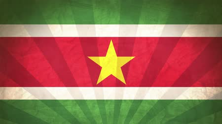 nationality : Flag Of Suriname. Paper Texture, With Seamlessly Spinning Printed Like Sunrays. High-Quality, Detailed Animation. 4K, 60fps