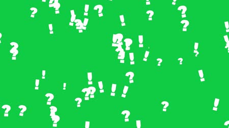 felkiáltás : Exclamation And Question Marks On Green Screen. High Quality Animation. Seamless loop, 4K, 60fps Stock mozgókép