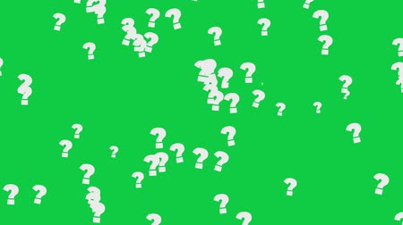 caligrafia : Question Marks On Green Screen. High Quality Animation. Seamless loop, 4K, 60fps Stock Footage