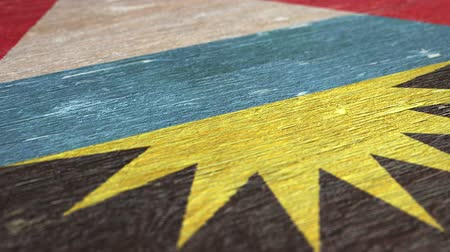 nationalités : Flag Of Antigua And Barbuda. Close-Up On Wood, Shallow Depth Of Field, Seamless Loop. High-Quality Animation. Ideal for Your Country  Travel  Political Related Projects. 1080p, 60fps. Vidéos Libres De Droits