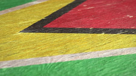 guyana : Flag Of Guyana. Close-Up On Wood, Shallow Depth Of Field, Seamless Loop. High-Quality Animation. Ideal for Your Country  Travel  Political Related Projects. 1080p, 60fps.
