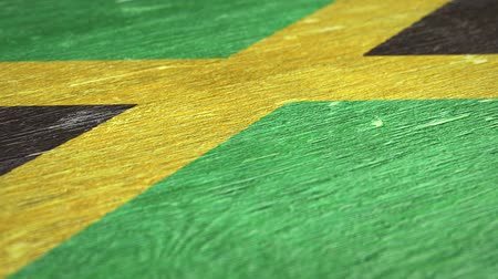 jamaique : Flag Of Jamaica. Close-Up On Wood, Shallow Depth Of Field, Seamless Loop. High-Quality Animation. Ideal for Your Country  Travel  Political Related Projects. 1080p, 60fps. Vidéos Libres De Droits