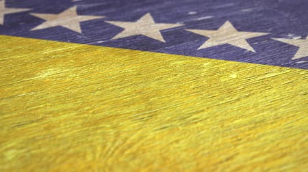 herzegovina : Flag Of Bosnia And Herzegovina. Close-Up On Wood, Shallow Depth Of Field, Seamless Loop. High-Quality Animation. Ideal for Your Country  Travel  Political Related Projects. 1080p, 60fps.
