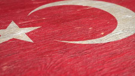 nationality : Flag Of Turkey. Close-Up On Wood, Shallow Depth Of Field, Seamless Loop. High-Quality Animation. Ideal for Your Country  Travel  Political Related Projects. 1080p, 60fps.