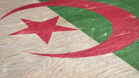 algeria : Flag Of Algeria. Close-Up On Wood, Shallow Depth Of Field, Seamless Loop. High-Quality Animation. Ideal for Your Country  Travel  Political Related Projects. 1080p, 60fps. Stock Footage