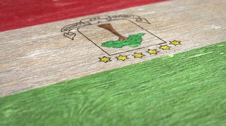 ギニア : Flag Of Equatorial Guinea. Close-Up On Wood, Shallow Depth Of Field, Seamless Loop. High-Quality Animation. Ideal for Your Country  Travel  Political Related Projects. 1080p, 60fps.