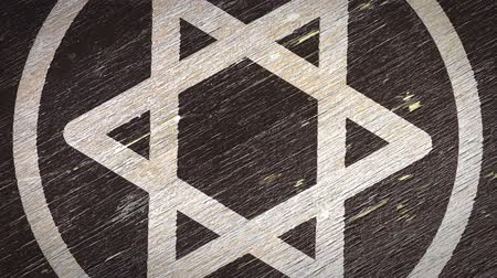 simbolismo : Star Of David  Magen - Jewish Symbol On The Wodden Texture. Ideal for Your Judaism  Religion Related Projects. High Quality Seamless Animation. 4K, 60fps Stock Footage