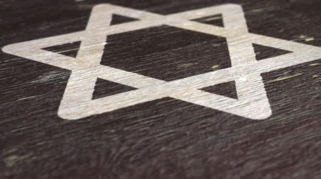 simbolismo : Star Of David  Magen - Jewish Symbol On The Wodden Texture. Ideal for Your Judaism  Religion Related Projects. High Quality Seamless Animation. 1080p, 60fps Stock Footage