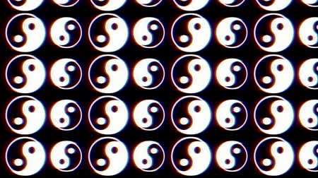 Glitchy, Arberration, Yin Yang Seamless  Tai ChiSigns. Fond original flashy moderne glitchy. 4k, 30fps