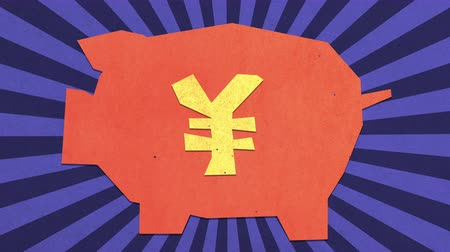 flat head : Money Savings Concept. Chinese Renminbi  Japanese Yen Sign. High Quality Stop Motion Animation