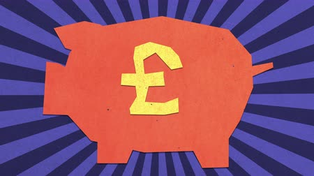 esterlino : Money Savings Concept. British Pound Sign On A Piggy Bank. High Quality Stop Motion Animation