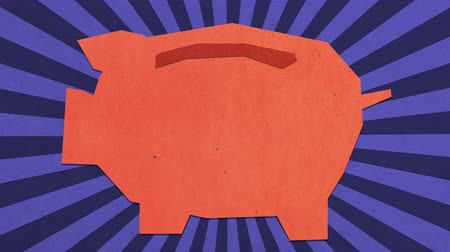 allowance : Money Savings Concept. Piggy Bank  Monex Box On Blue Background. High Quality Stop Motion Animation