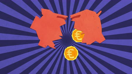 flat head : Money Savings Concept. Euro Coins Falling From a Broken Piggy Bank. High Quality Stop Motion Animation
