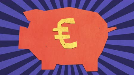 stopmotion : Money Savings Concept. Euro Sign On A Piggy Bank. High Quality Stop Motion Animation