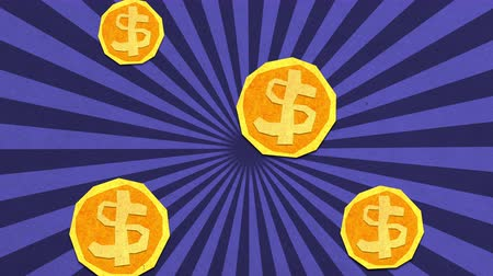 allowance : Money Savings Concept. Dollar Coins Falling Seamlessly. High Quality Stop Motion Animation Stock Footage