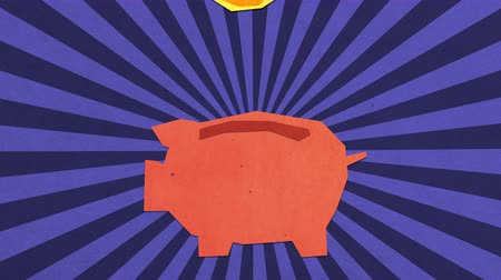 Money Savings Concept. Dollar Coins Falling Into Piggy Bank. High Quality Stop Motion Animation