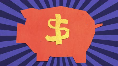 allowance : Money Savings Concept. Dollar Sign On A Piggy Bank. High Quality Stop Motion Animation Stock Footage