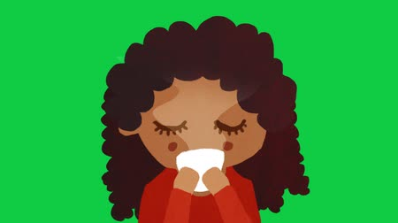 Curly Black Girl  Young Woman Drinking Coffee  Tea On Green Screen. Stop Motion Animation. 4K