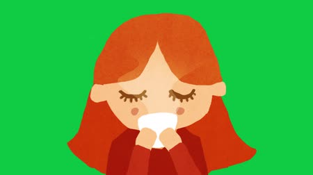 Redhead  Ginger Caucasian Girl  Woman Drinking Coffee  Tea On Green Screen. Stop Motion Animation. 4K Stock Footage
