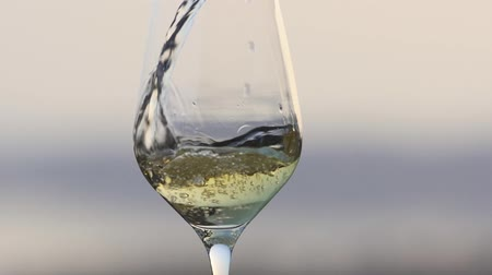 A close up of white wine being poured into a wine glass