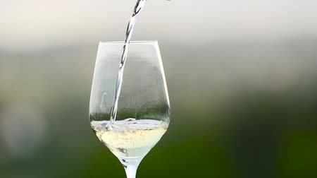 Close up of white wine being poured into a wine glass in slow motion