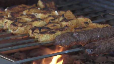 kebabs cooking on a grill fire
