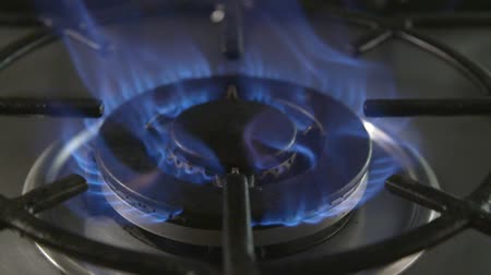culinária : Slow motion clip of a gas hob being lit Vídeos