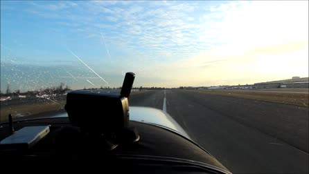 View of landing from the cockpit of a Cessna 182