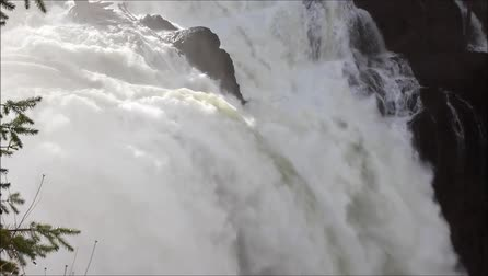 Water gushing in full force over the Snoqualmie water fall