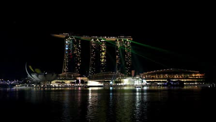 SINGAPORE - MAY 14: The 8 billion dollar Marina Bay Sands resort and casino illuminated at night by a laser show on May 14, 2013 in Singapore.