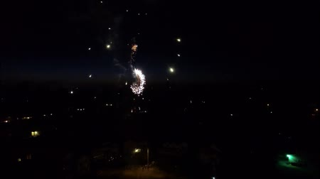Aerial view of neighborhood fireworks during July 4th celebrations