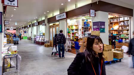 tsukiji : Tokyo, Japan - 23 February 2019 - Shoppers walk around and shop at the new shopping area of the new Tokyo fish market on February 23, 2019 Stock Footage