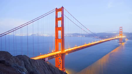 brug : Zonsondergang, Golden Gate Bridge, time lapse