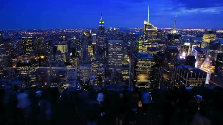 night scene : Top of the Rock Rockefeller Center, New York City, time lapse Stock Footage