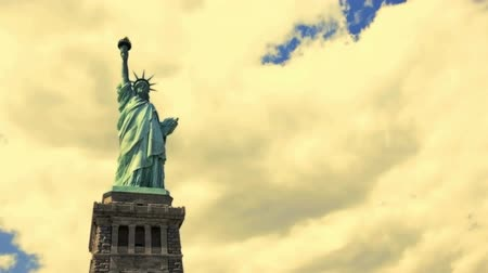 heykel : Time Lapse view of the Statue of Liberty Stok Video