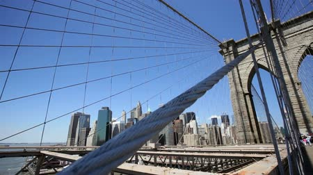urban skyline : Dolly shot of New York City from the Brooklyn Bridge Stock Footage