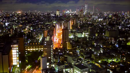 tokio : Downtown Tokyo at night, time lapse, view from above
